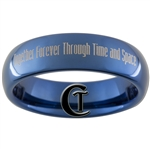 6mm Blue Dome Tungsten Carbide  Doctor Who Tardis and Quote Design Ring.