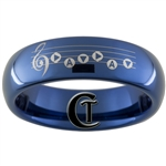 6mm Blue Dome Tungsten Carbide Zelda Song of Time Hyrule Crest Design With Quote On Back