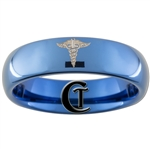 6mm Blue Dome Tungsten Carbide Nurse Caduceus Design Ring.