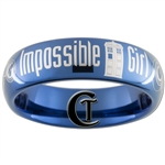 6mm Dome Blue Tungsten Carbide Doctor Who Tardis  & Gallifreyan- Impossible Girl Design Ring.
