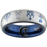 6mm Blue Dome Tungsten Carbide Kingdom Hearts Symbols Design Ring.