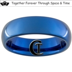 6mm Blue Dome Tungsten Carbide White Lasered Claddagh & Doctor Who Quote Design