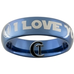 6mm Blue Dome Tungsten Star Wars Jedi- I LOVE YOU Design Ring.