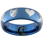 6mm Blue Dome Tungsten Carbide Wolf-Raven Hearts Ring Design