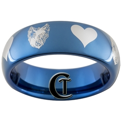 6mm Blue Dome Tungsten Wolf-Raven Hearts Design Ring.