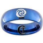 6mm Blue Dome Tungsten Carbide Moana Heart of the Ocean Symbol Design Ring.