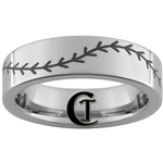 6mm Pipe Tungsten Carbide Lasered Baseball Stich Ring Design