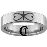 6mm Pipe Tungsten Carbide Infinity Heart Cross Design Ring.