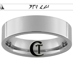 6mm Pipe Tungsten Carbide Klingon Empire Symbol with Klingon Text- Always A Chance Design Ring.