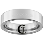 6mm Pipe Tungsten Carbide White Lasered Customizable Roman Numerals Design