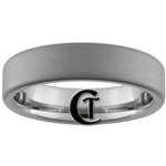 6mm Pipe Tungsten Carbide Diamond Matte Finish Ring