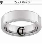 7mm Beveled Tungsten Carbide Medical Alert Type 1 Diabetic Design