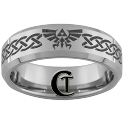 7mm Beveled Tungsten Carbide Zelda Skyward Sword Triforce Design
