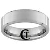 7mm Beveled Tungsten Carbide Satin Finish Ring