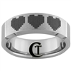 7mm Beveled Tungsten Carbide Zelda 8-Bit Heart Design