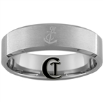 7mm Beveled Tungsten Carbide Satin Finish Navy Anchor Design Ring.