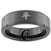 7mm Black Beveled Tungsten Carbide Kanji Peace Design