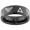 7mm Black Beveled Tungsten Carbide Zelda Skyward Sword Design