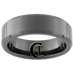 7mm Black Beveled Tungsten Carbide Ring