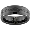 7mm Black Beveled Tungsten Carbide Claddagh Celtic Design