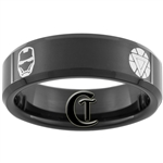 7mm Black Beveled Tungsten Carbide Iron Man Design