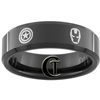 7mm Black Beveled Tungsten Carbide New Avengers Design