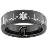 7mm Black Beveled Tungsten Carbide EMT Star of Life & Heart EKG Design