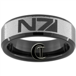 7mm Black Beveled Tungsten Carbide N7 Design