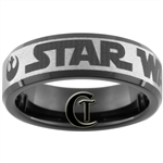 7mm Black Beveled Tungsten Carbide Star Wars Rebel Alliance Design