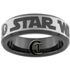7mm Black Beveled Tungsten Carbide Star Wars Jedi Design