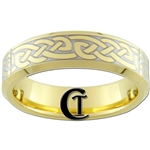 7mm Gold Beveled Tungsten Carbide Celtic Design