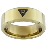 7mm Gold Beveled Tungsten Carbide Masonic Design