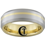 7mm Gold Beveled Tungsten Carbide All-Lasered with a Gold Line Design