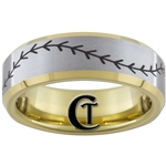 7mm Gold Beveled Tungsten Carbide Satin Finish Baseball Stich Ring Design