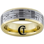 7mm Gold Beveled Tungsten Carbide Satin Finish Circuit Board Ring Design