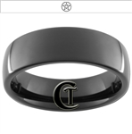 7mm Black Dome Tungsten Carbide Wicca Star Design Ring.