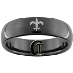 7mm Black Dome Tungsten Carbide Fleur De Lis Design