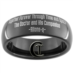 7mm Black Dome Tungsten Carbide Custom Doctor Who Design