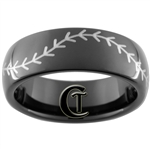 7mm Black Dome Tungsten Carbide Baseball Stitch Design