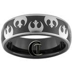 7mm Black Dome Tungsten Carbide Star Wars Rebel Alliance Design