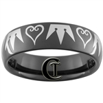 7mm Black Dome Tungsten Carbide Kingdom Hearts & Crown Design