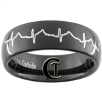 7mm Black Dome Tungsten Carbide Heart EKG Design
