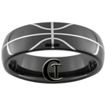 7mm Black Dome Tungsten Carbide Basketball Design
