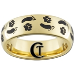 7mm Gold Dome Tungsten Carbide Foot & Paw Print Design