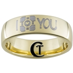 7mm Gold Dome Tungsten Carbide Portal I Love You Design