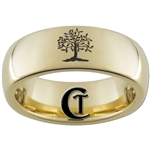 7mm Gold Dome Tungsten Carbide Tree Of Life Ring Design