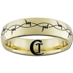 7mm Gold Dome Tungsten Carbide Barbwire Ring Design