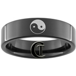7mm Black Pipe Tungsten Yin Yang Design