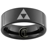 7mm Black Pipe Tungsten Carbide  lasered Zelda Design