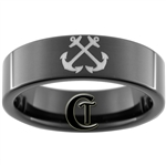 7mm Black Pipe Tungsten Carbide NAVY Anchor Design Ring.